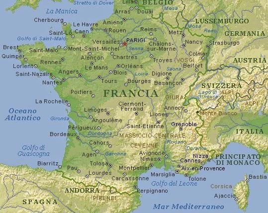 Cartina Monti Francia.Secondagineuropa Francia