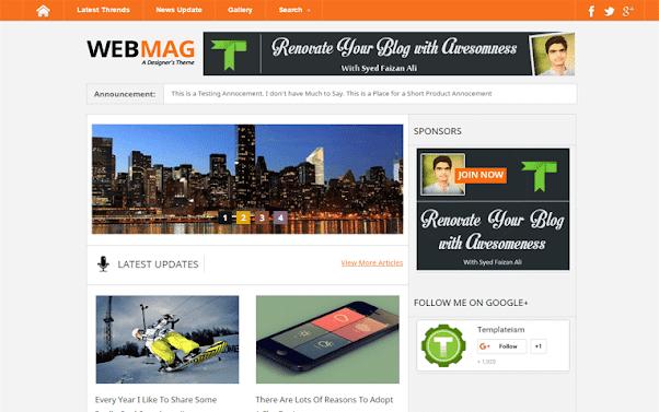 WebMag Free Blogger Template