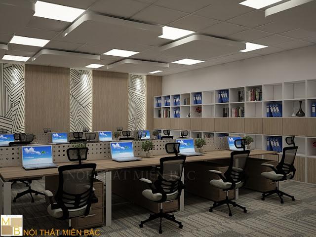 Những sản phẩm nội thất có kiểu dáng và kích cỡ đồng nhất sẽ tạo nên một thiết kế nội thất phòng làm việc đẹp chuyên nghiệp và ấn tượng