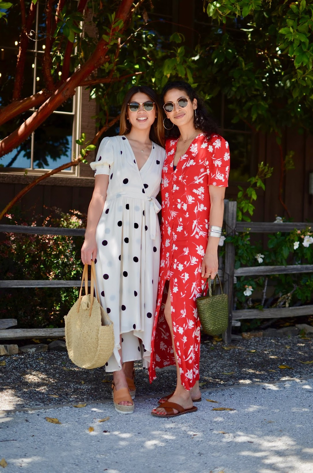 Healdsburg wine weekend, wine country get away, red maxi summer dress, summer prints in wine country, straw bag, Dutcher Crossing winery