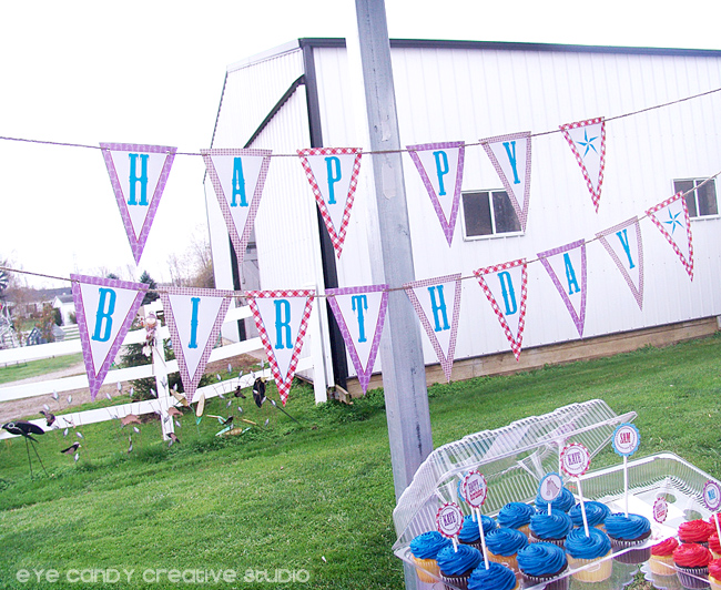 happy birthday kbanner, cowboy party birthday banner, gingham
