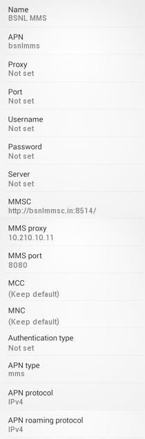 BSNL MMS Settings for Android Galaxy HTC Nexus