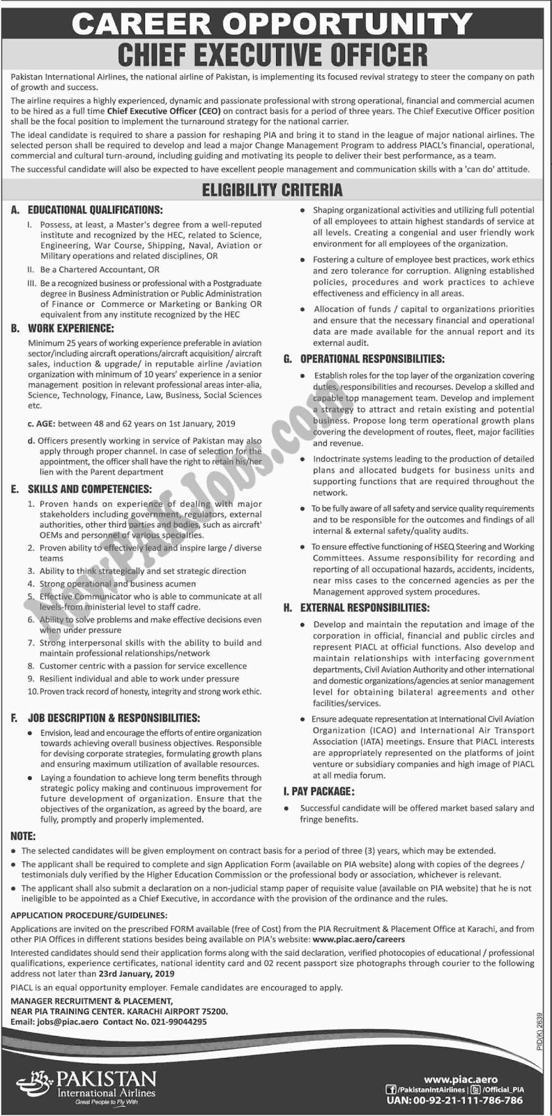 Jobs in PIA 2019, Pakistan International Airlines