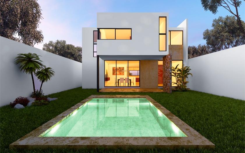 Decoraci n minimalista y contempor nea fachada delantera for Decoracion exterior jardin contemporaneo