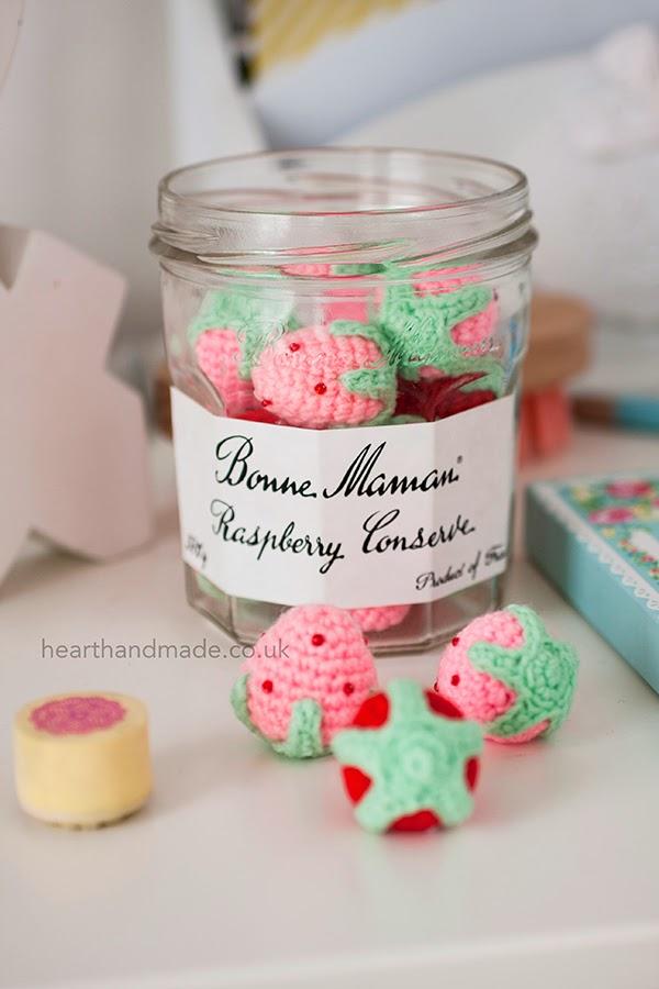 crochet strawberries in bonne maman jars