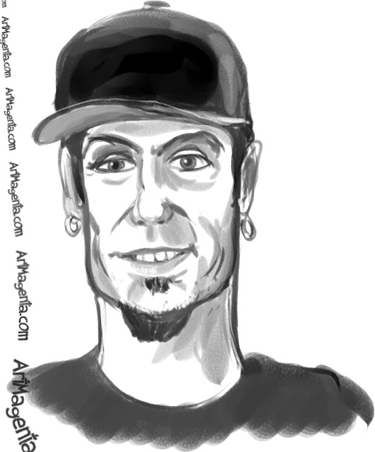 Vanilla Ice caricature cartoon. Portrait drawing by caricaturist Artmagenta.