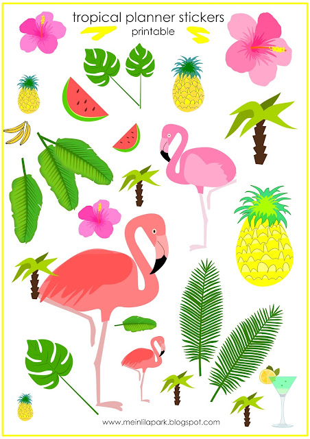 Free printable tropical planner stickers - Agendasticker - freebie