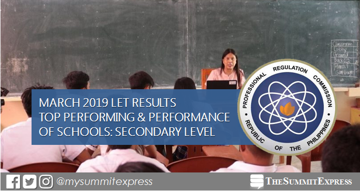 March 2019 LET result Secondary: top performing, performance of schools