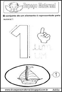 Desenho numeral 1 para colorir