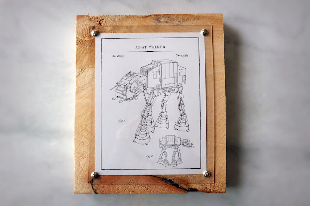 AT-AT Star Wars printables wood panel framing picture acrylic