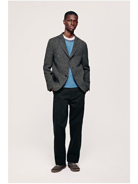Jijibaba grey tweed jacket, blue sweater and black chinos