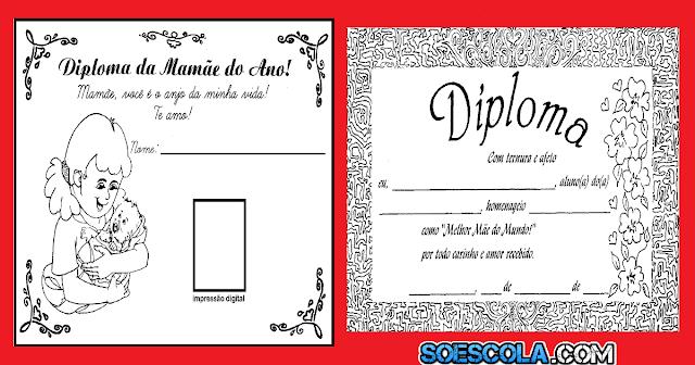 Dois modelos de diploma para o Dia das Mães. São excelentes cartões com mensagens para presentear e homenagear a mamãe.