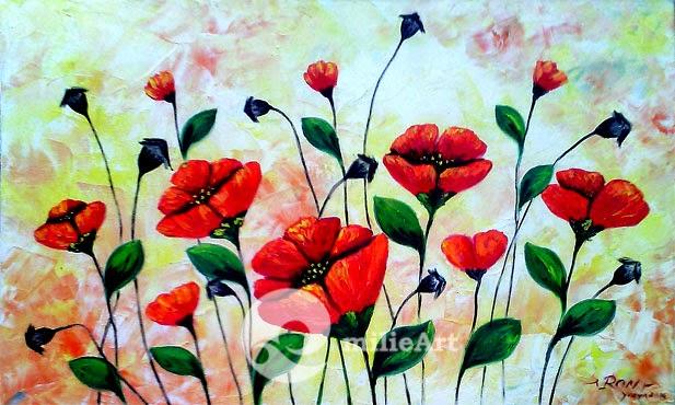 Lukisan Rumpun Bunga Merah 100x60cm MB-071
