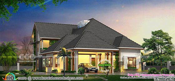 4 bedroom sloping roof house architecture rendering