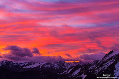 Dramatic sunrise in Bugaboos Provincial Park, British Columbia, Canada.