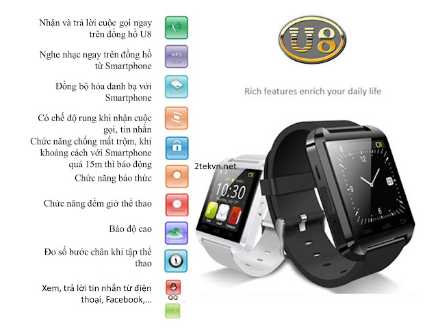 Các tính năng của đồng hồ điện thoại U8