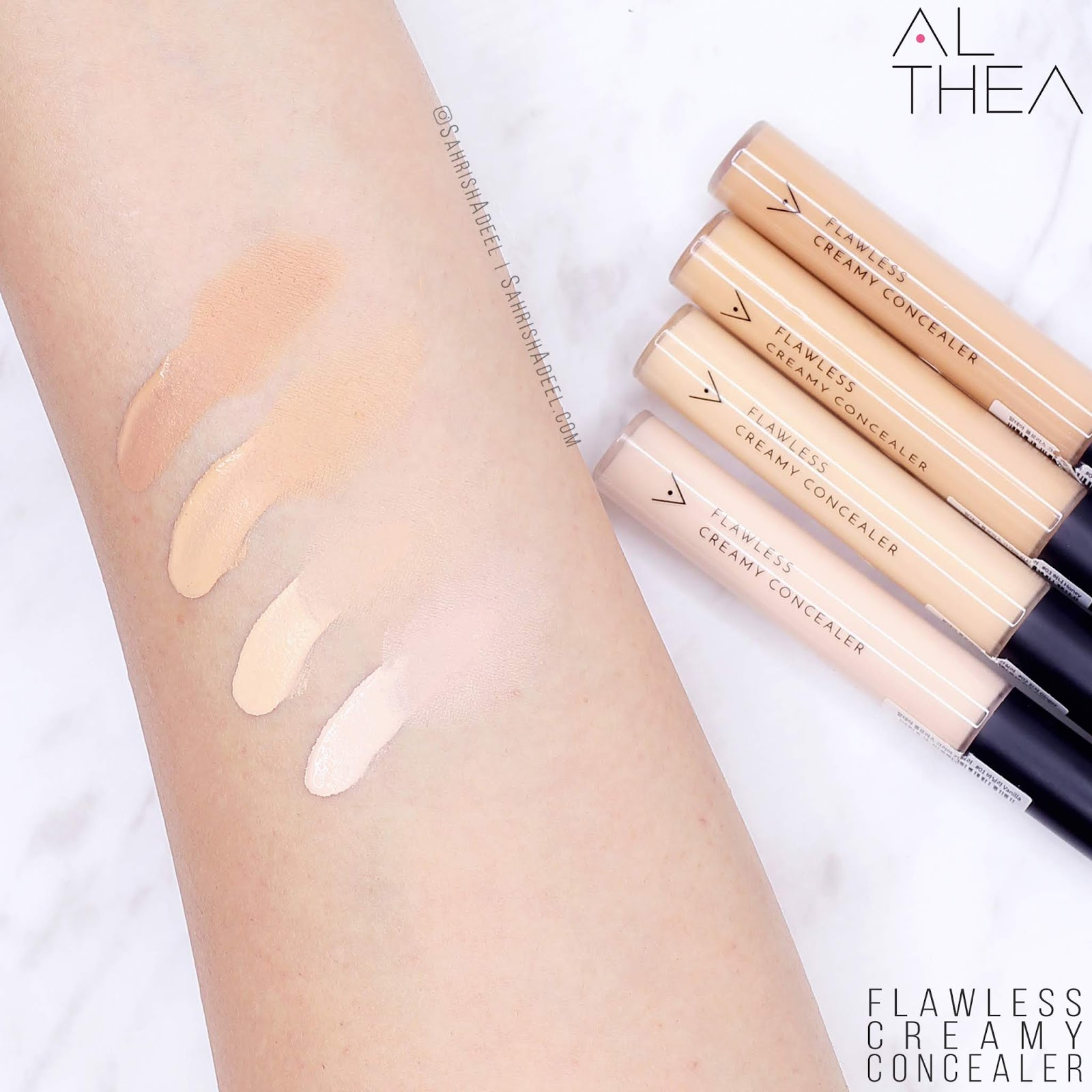 Flawless Creamy Concealer by Althea Korea - Review & Swatches [All Shades]