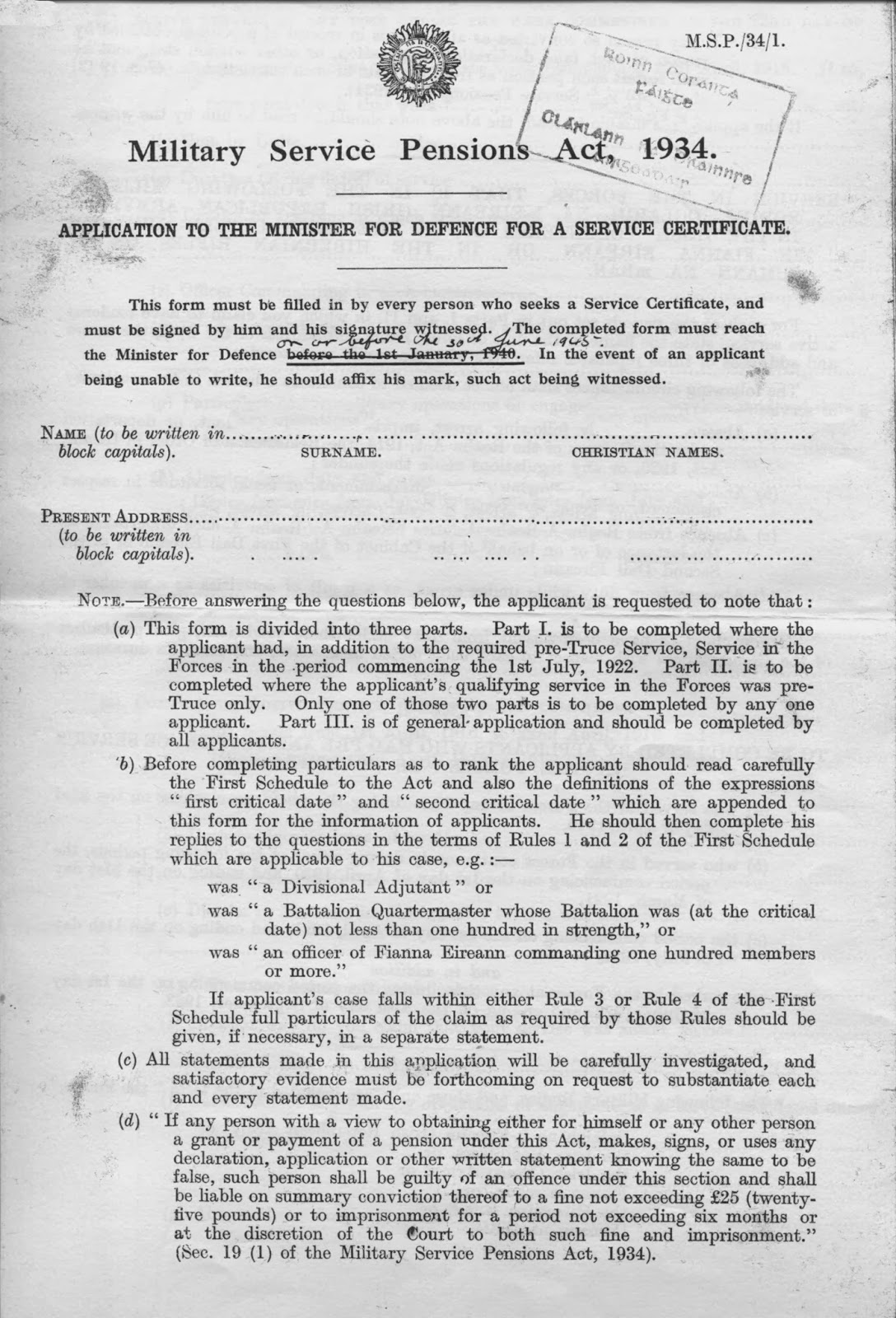 Irish History 1916-1923; Military Pension Records & Medals