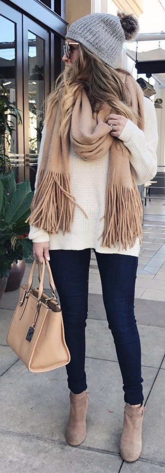 how to style a cashmere scarf : hat + white sweater + bag + black skinnies + boots