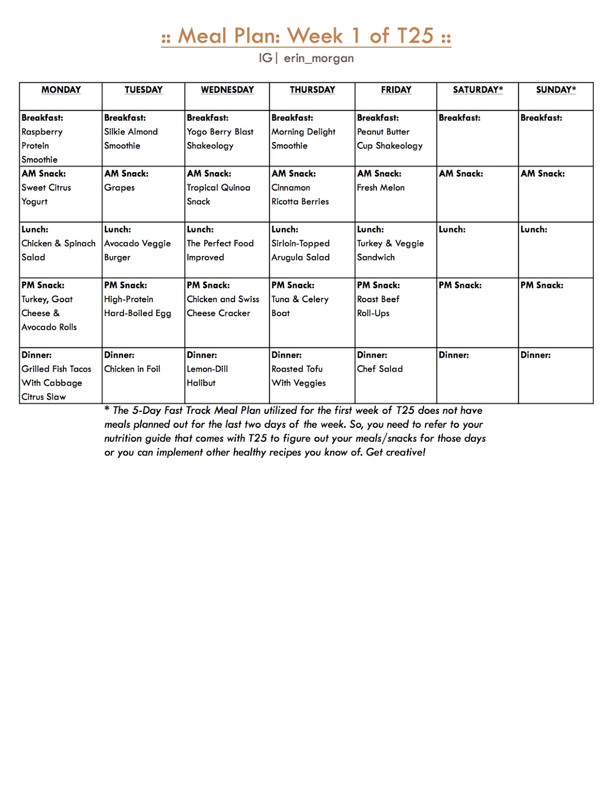 Pictures of T25 Meal Plan Pdf Download - #rock-cafe