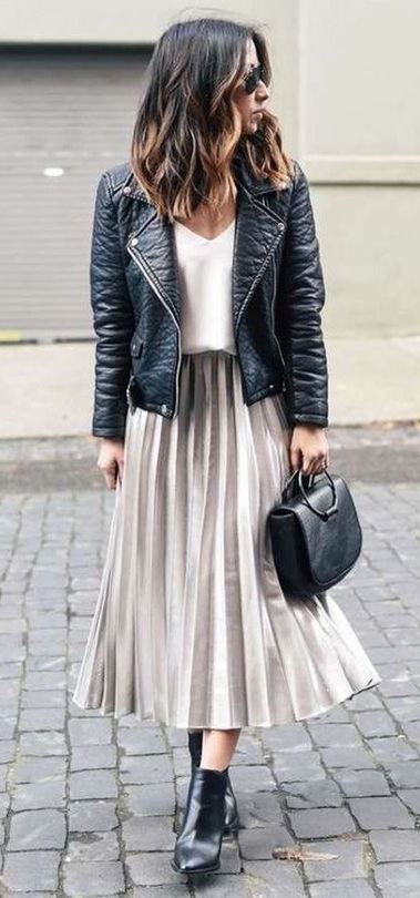 awesome outfit idea / midi skirt + boots + top + black jacket