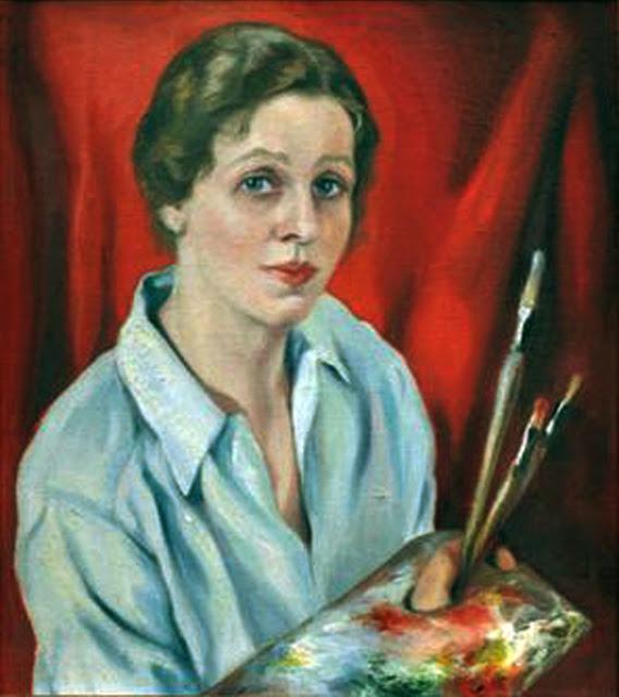 Mary E. Hutchinson, Self Portrait, Portraits of Painters, Fine arts, Portraits of painters blog, Paintings of Mary E. Hutchinson, Painter Mary E. Hutchinson
