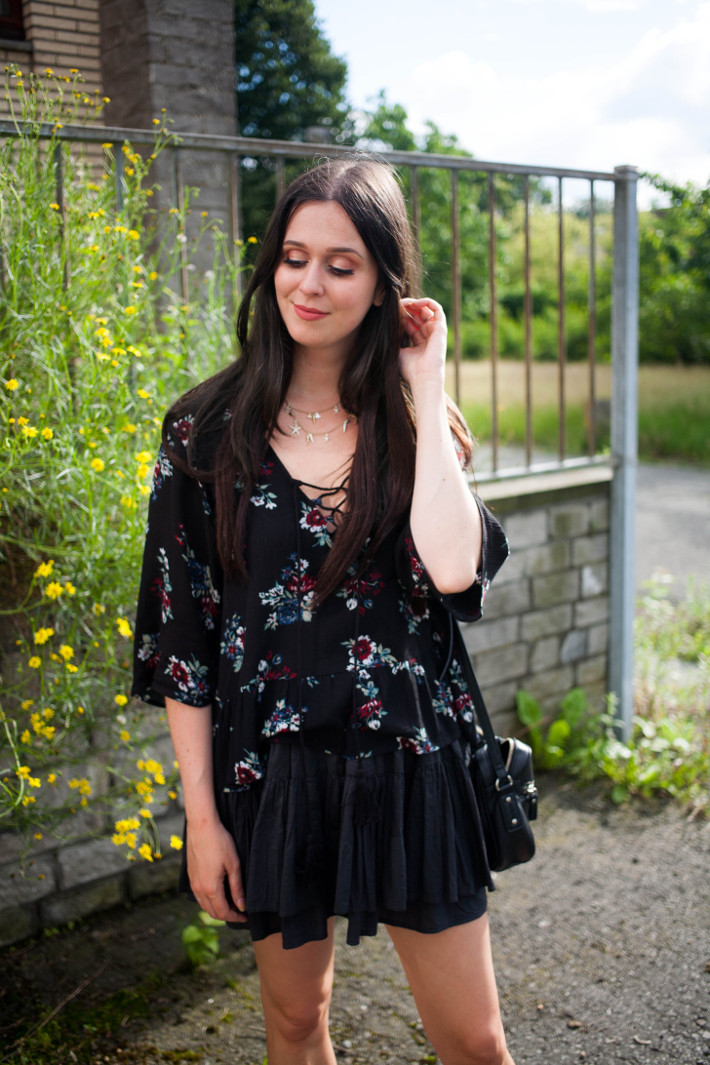boho in floral lace up blouse