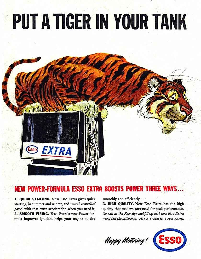 Bob Jones illustration of Esso tiger