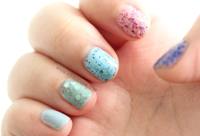 Easter nails created with Modi glitter nail polishes