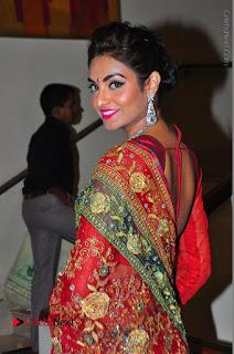 Model Sharon Fernandes Stills in Red Saree at Trendz Exhibition Launch  0029.JPG