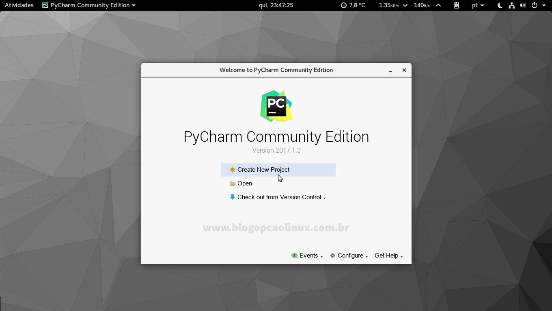 PyCharm Community executando no openSUSE Tumbleweed com ambiente de desktop GNOME