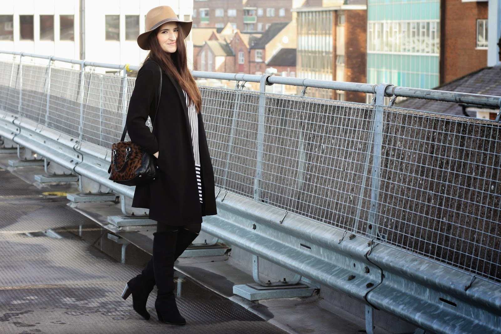 Black duster coat outfit