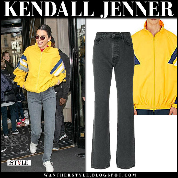Kendall Jenner in yellow jacket balenciaga and grey jeans yeezy street fashion april 4