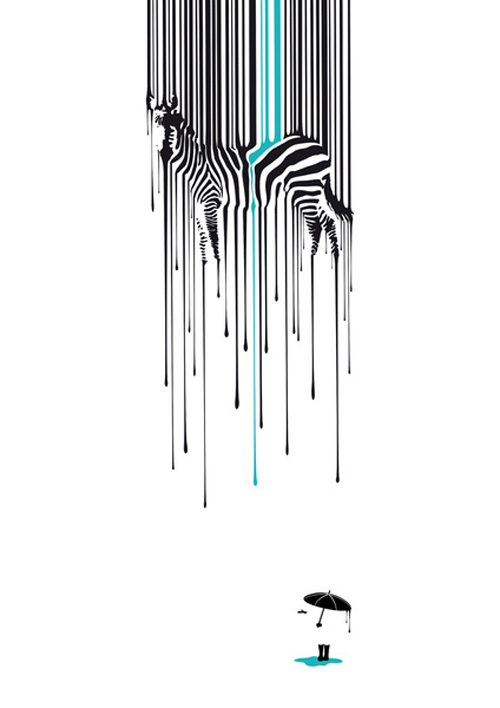 Zebra Art Print, Modern Zebra Art Print, Cool Modern Black and White Art Print, Contemporary Zebra Print