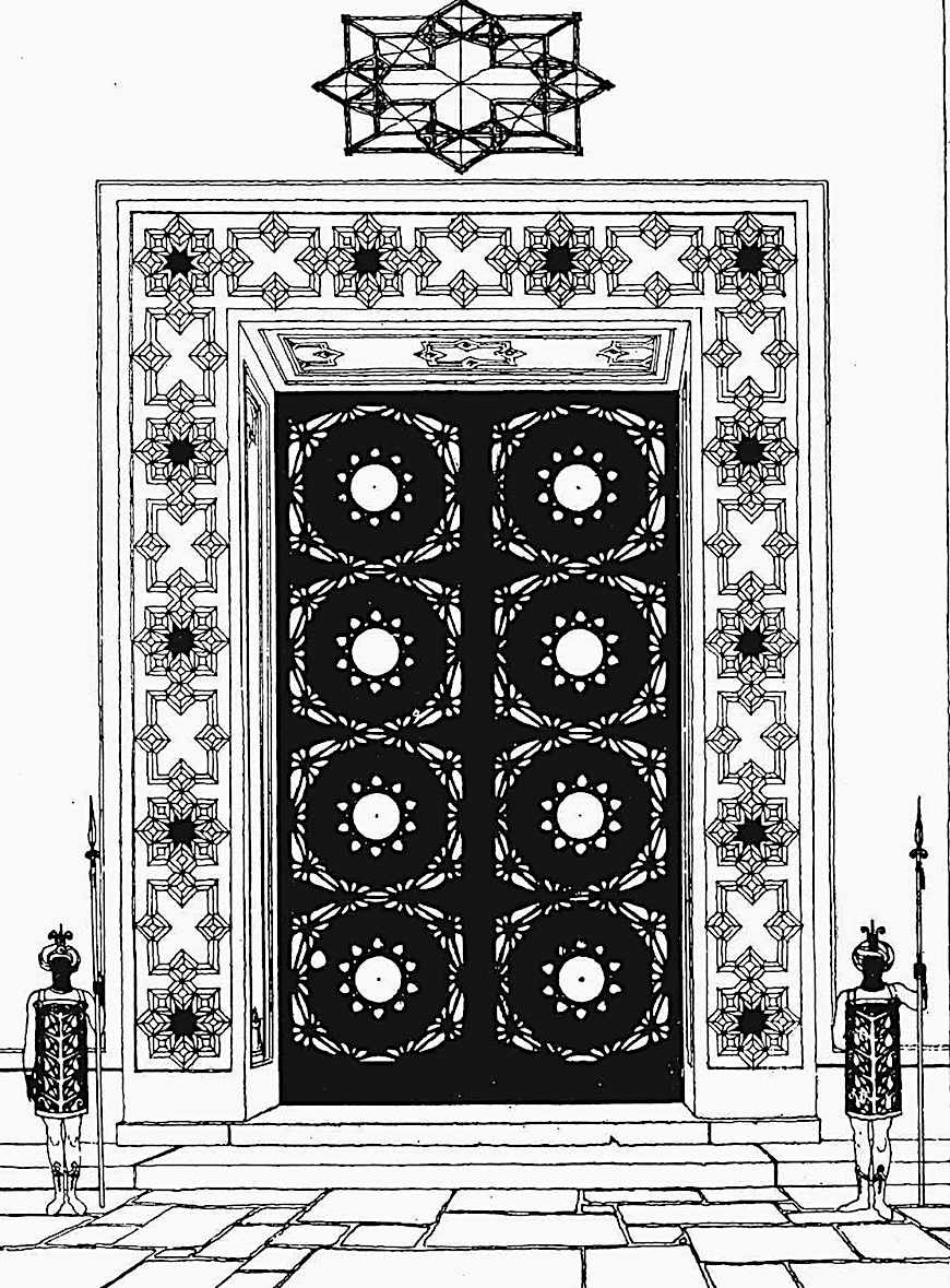 a 1920s Claude Bragdon design of giant doors with guards