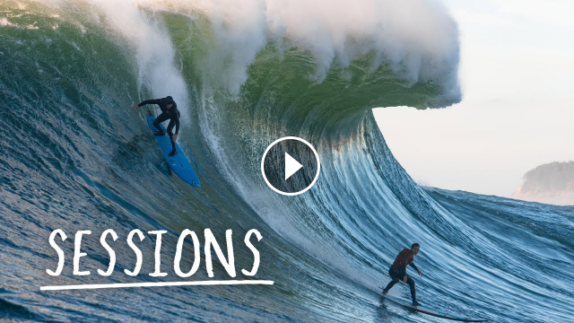 Kai Lenny and Lucas Chumbo Chiana Charge Perfect Mavericks Sessions