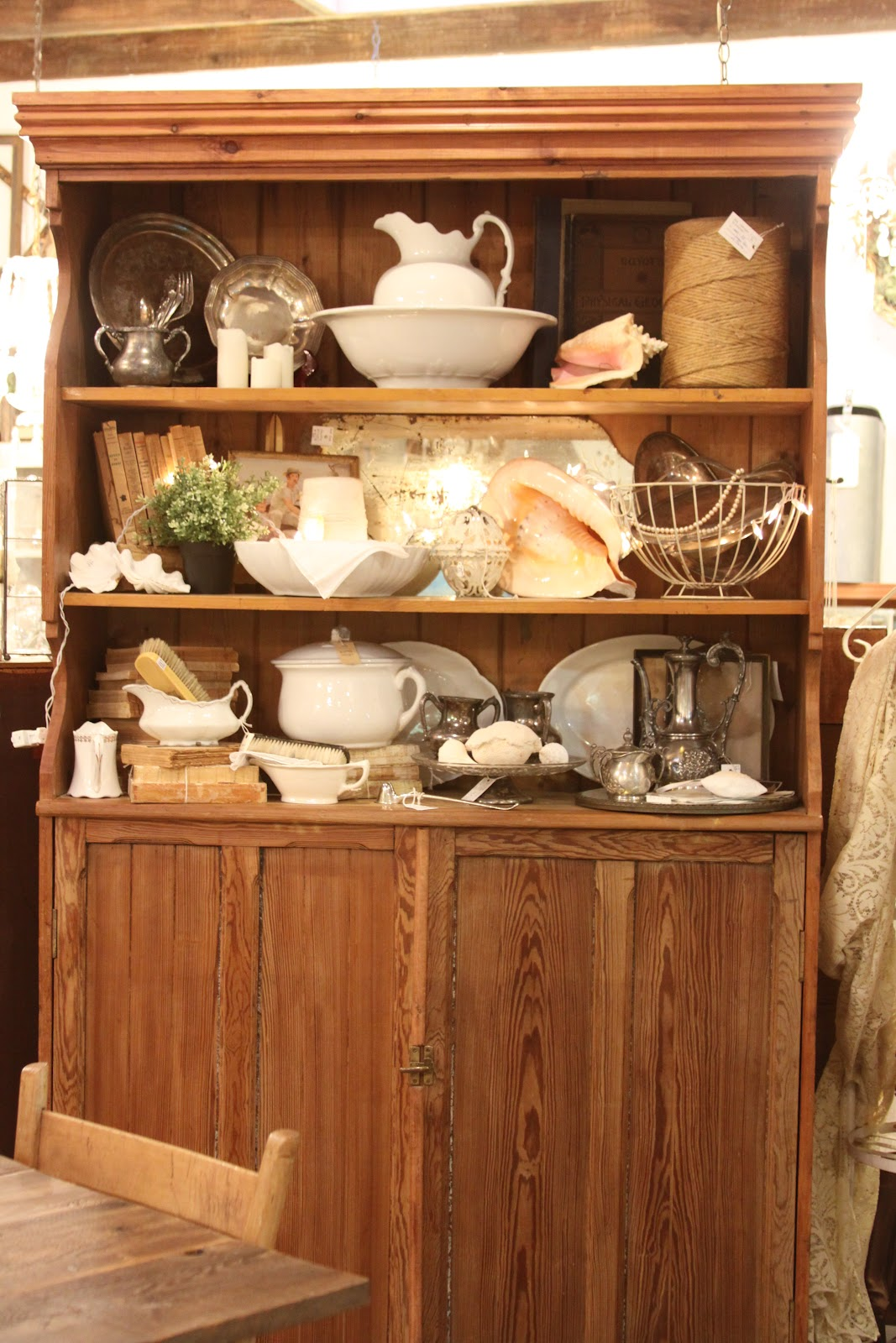 The Vintage Bricoleur Farm Table Hutch Buffet