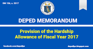 MEMO: Provision of the Hardship Allowance of Fiscal Year 2017