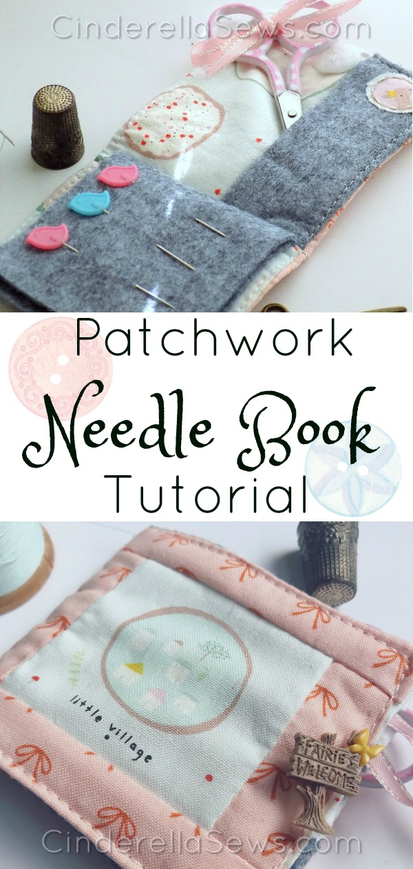 Make this easy needle book as a gift or for yourself with some special scraps or fat quarters! An easy beginner tutorial for anyone who wants to try patchwork or just make a cute mending book #sewing #needlebook #beginnersewing #sewingtutorial
