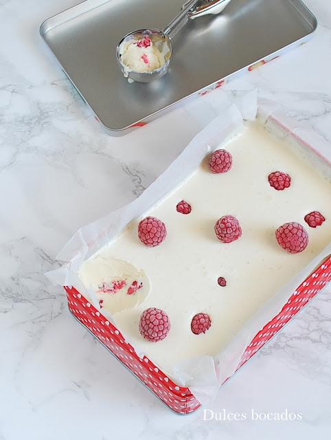 Helado de frambuesa sin heladera - Dulces bocados