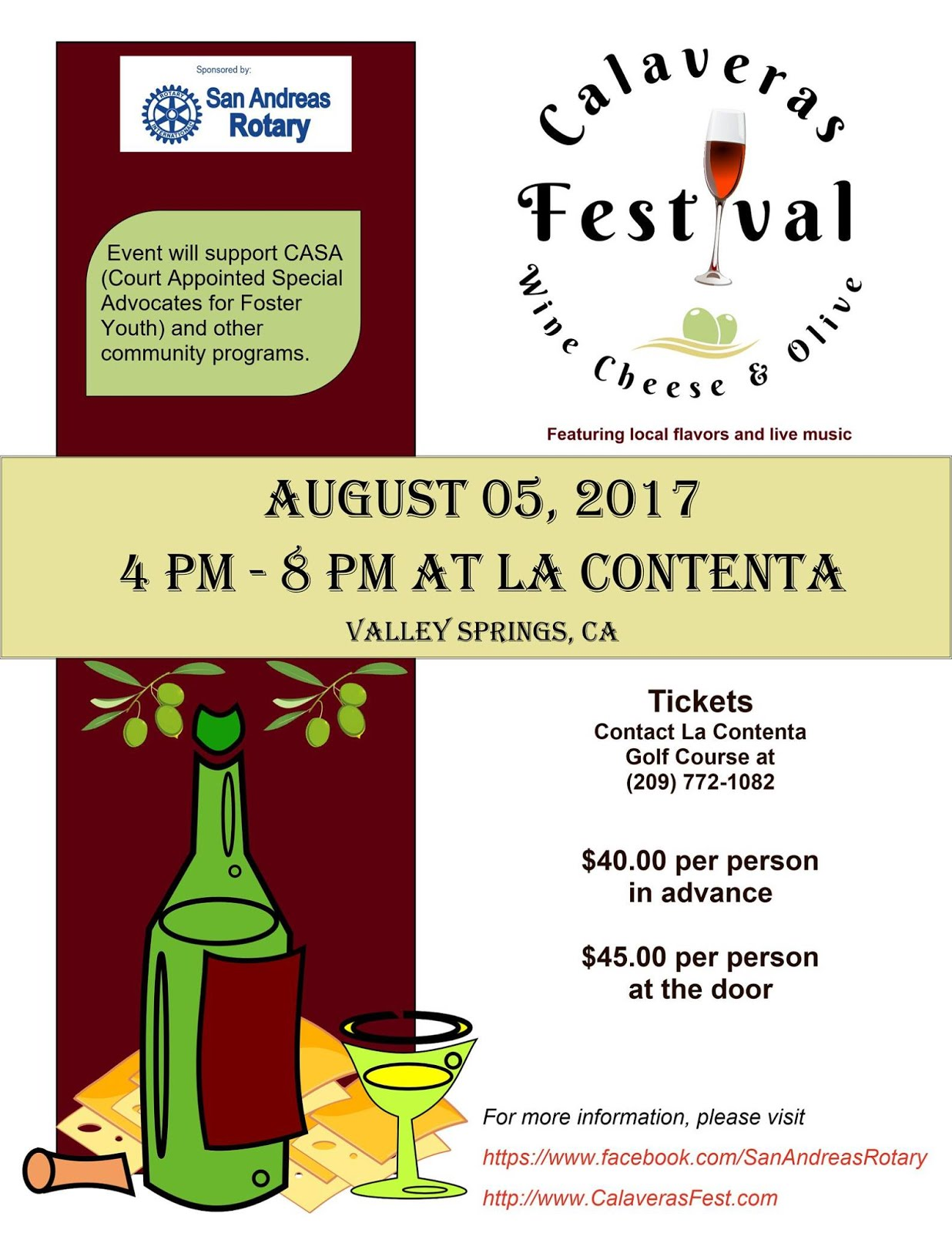 Calaveras Wine, Cheese & Olive Festival -Sat Aug 5