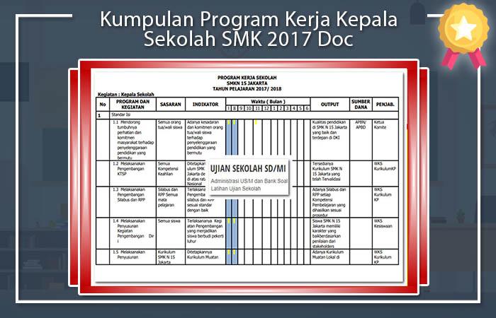 Kumpulan Program Kerja Kepala Sekolah SMK 2017 Doc