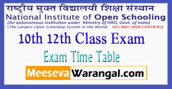 NIOS National Institute of Open Schooling 10th 12th Class Exam Time Table 2019