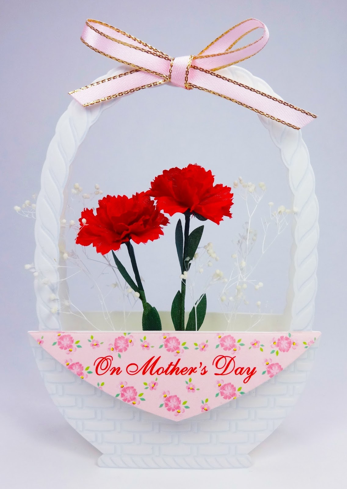 Mother's Day Flower Basket Pop Up Decorative Greeting Card