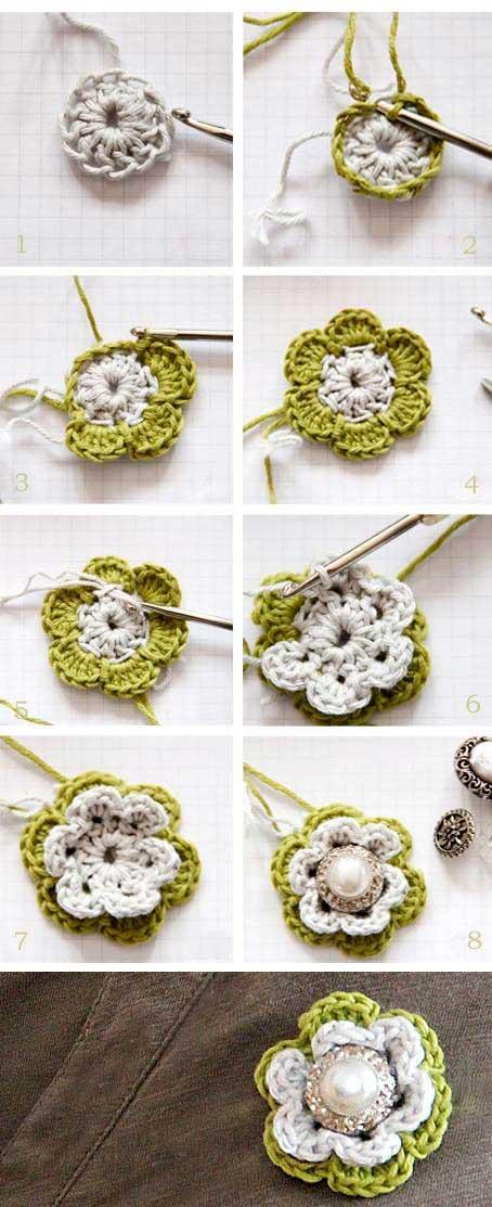 Cómo tejer una linda flor al crochet con centro de perla | Paso a Paso