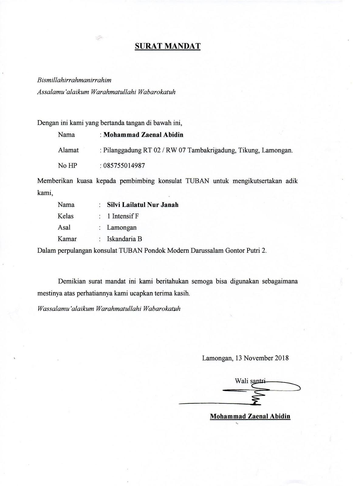 Edufunia Blog Contoh Surat Mandat Gontor