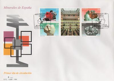 Sobre Primer Día de Circulación de los sellos de minerales y del Museo Geominero en 1994