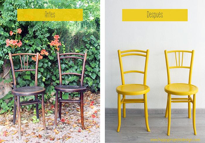 Antes y después de una silla de madera