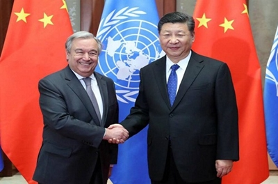 Guterres llama en China a movilizar recursos a favor del desarrollo sostenible.