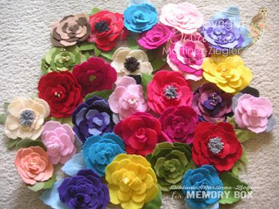 flower pins in felt